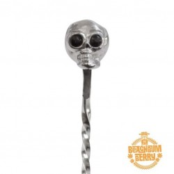 "SKULL Bar Spoon Stainless Steel, 33cm - TIKI Style ""BEACHBUM BERRY"""