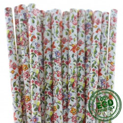 Paper Drinking Straws - FLOWERS, 100pcs