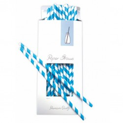 Paper Drinking Straws - Blue-White Striped, 100pcs