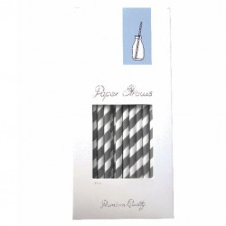 Paper Drinking Straws - White-Grey Striped, 100pcs