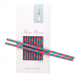 Paper Drinking Straws - Red-Blue Striped, 100pcs
