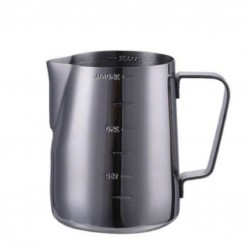 BLACK Milk Jug with SCALE 600ml - Barista Pitcher