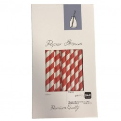 Paper Drinking Straws - Red-White Striped, 100pcs
