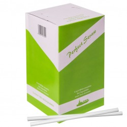 White BIODEGRADABLE Straight Stick STRAWS, 200pcs