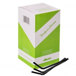 Black BIODEGRADABLE Bendy STRAWS, 250pcs