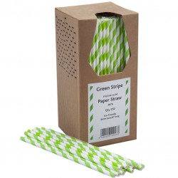 Green & White Striped Paper Straws, 250pcs