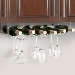 Wine Rack & Glass Hanger Rack - CHROME plated, 61cm
