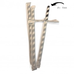 Black & White Striped Paper Straws, Ø 8mm (Individually Wrapped), 500pcs
