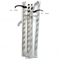 Black & White Striped Paper Straws, Ø 6mm (Individually Wrapped), 500pcs