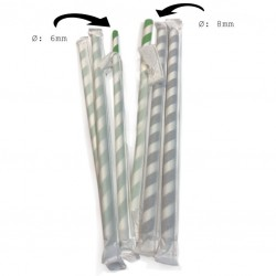 Green & White Striped Paper Straws, Ø 8mm (Individually Wrapped), 500pcs