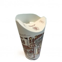BUTTERFLY - Take Away Paper Cups with Pliable Lid, 8oz