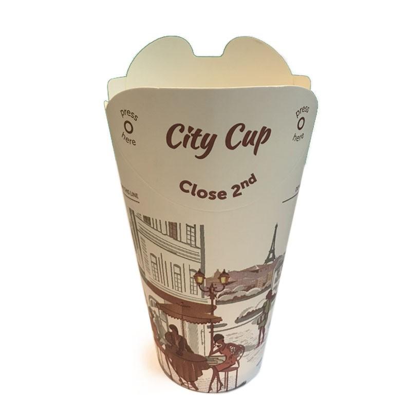 Take Away Paper Cups - 12oz FOLDABLE LID, Disposable (40pcs)