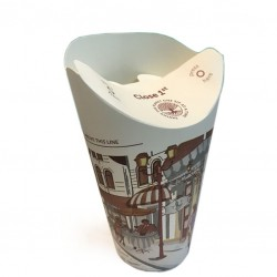 BUTTERFLY - Take Away Paper Cups with Pliable Lid, 12oz