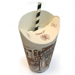 Take Away Paper Cups - 12oz FOLDABLE LID, Butterfly