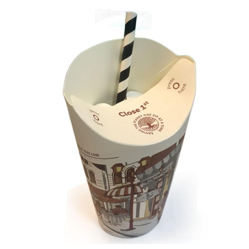 Pahare Carton - CAPAC PLIABIL - 12oz cu pai negru