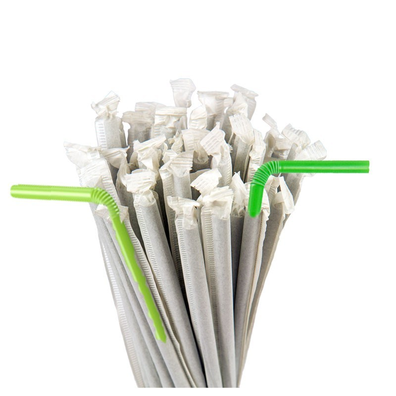 Individual -Paper- PACKED Green BIODEGRADABLE Bendy STRAWS, 250pcs