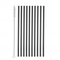 Straight Metal Straws (10pcs) and Brush - GunMetal BLACK, Reusable