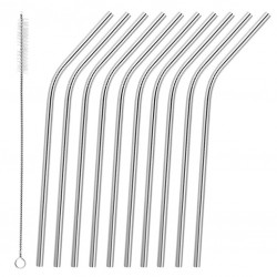 Bent Metal Straws (10pcs) and Brush - Stainless Steel, Reusable