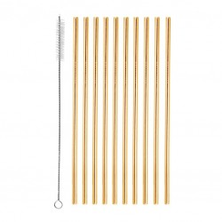 Straight Metal Straws (10pcs) and Brush - GOLD, Reusable