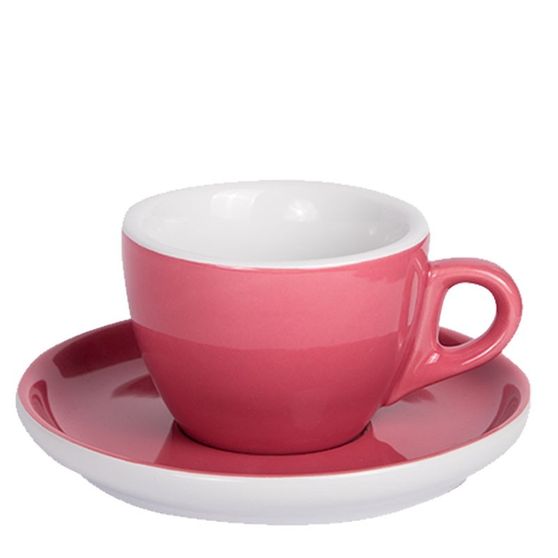 Set CAPPUCCINO (Cup & Plate) - OVEN RED Porcelain, 160ml