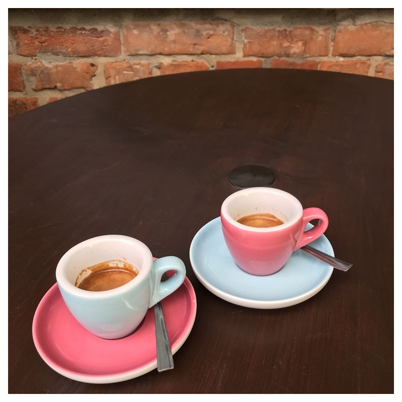 Set  ESPRESSO (Cup & Plate) - BLUE, RED