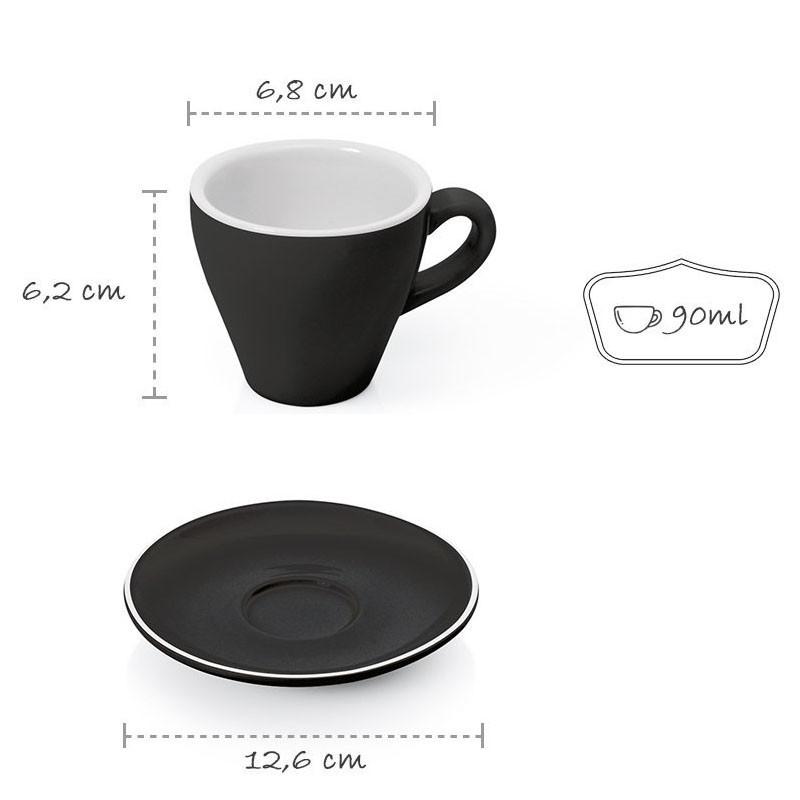 Set  ESPRESSO (Cup & Plate) - BLACK Porcelain, 90ml