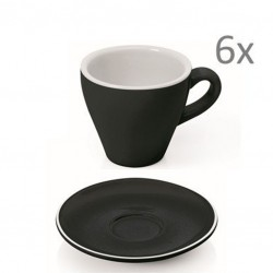 Set  ESPRESSO (Cup & Plate) - BLACK Porcelain, 90ml