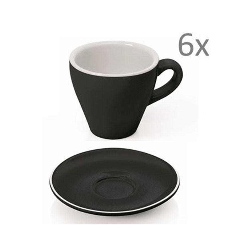 Set  ESPRESSO (Cup & Plate) - BLACK Porcelain