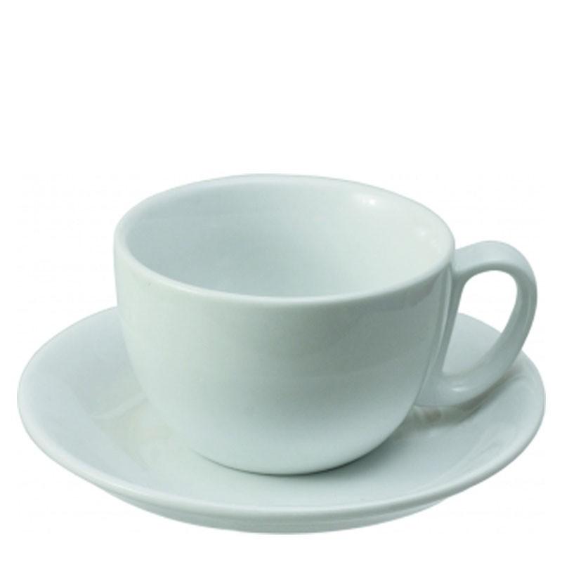 Set LATTE (Cup & Plate) - White Porcelain, 350ml