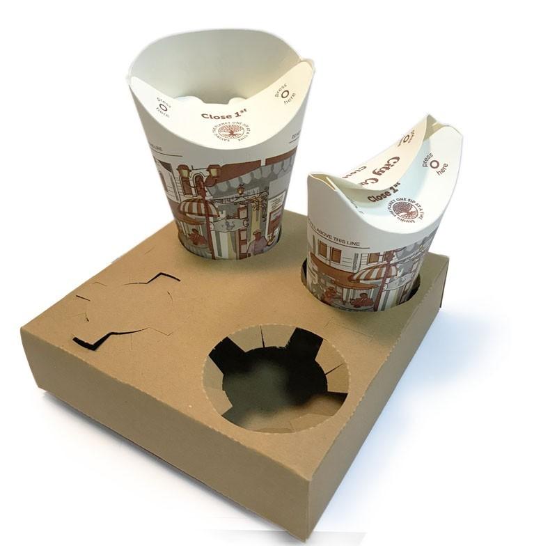 Suport Carton KRAFT - pentru 4 buc. Pahare de Unica Folosinta