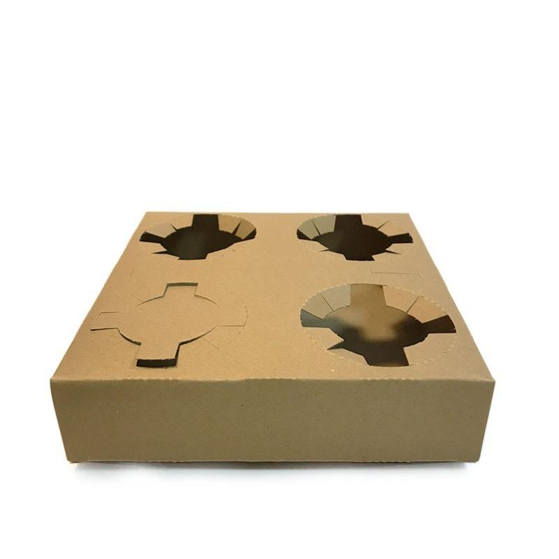 Suport Carton KRAFT - pentru 4 buc. Pahare
