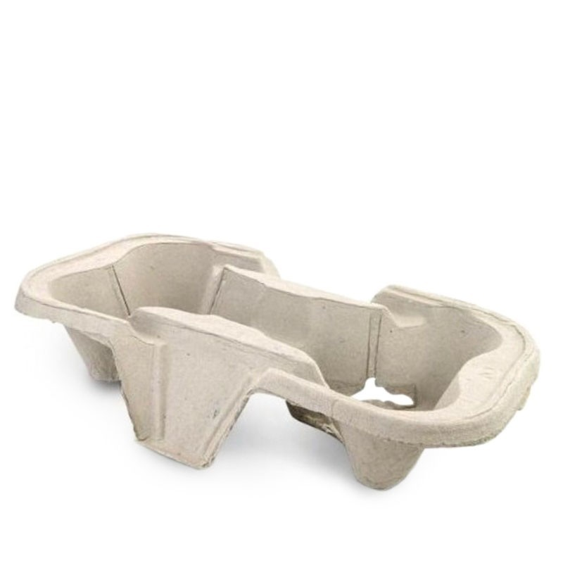 Biodegradable Pulp Fiber Tray /Holder for 2 Cups