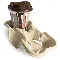 Biodegradable Pulp Fiber Tray /Holder for 2 Cups (coffee 2 go)
