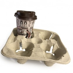 Disposable Coffe Tray - 4 Cup Holder (Biodegradable, Compostable)