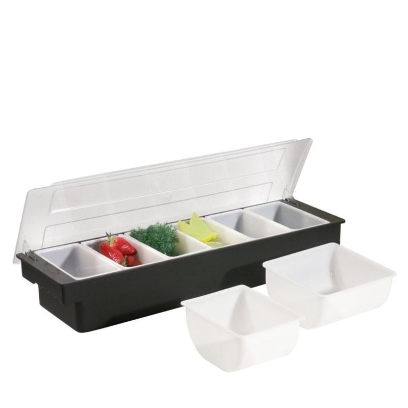 Fruit Tray / Condiment Holder - Plastic, 6 Comp. x 1 Pint