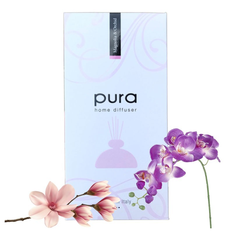 Room Fragrance - PURA PLATINUM, 250ml - Aroma Diffuser with Chopsticks (in Gift Box) MAGNOLIA & ORCHID