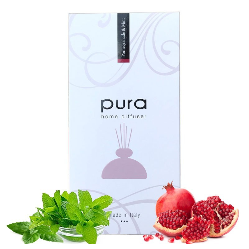 Room Fragrance - PURA PLATINUM, 250ml - Aroma Diffuser with Chopsticks (in Gift Box) POMEGRANADE & MINT