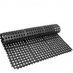 Floor Mat - Black Rubber, Interconnectable, 91 .5 * 91 .5cm