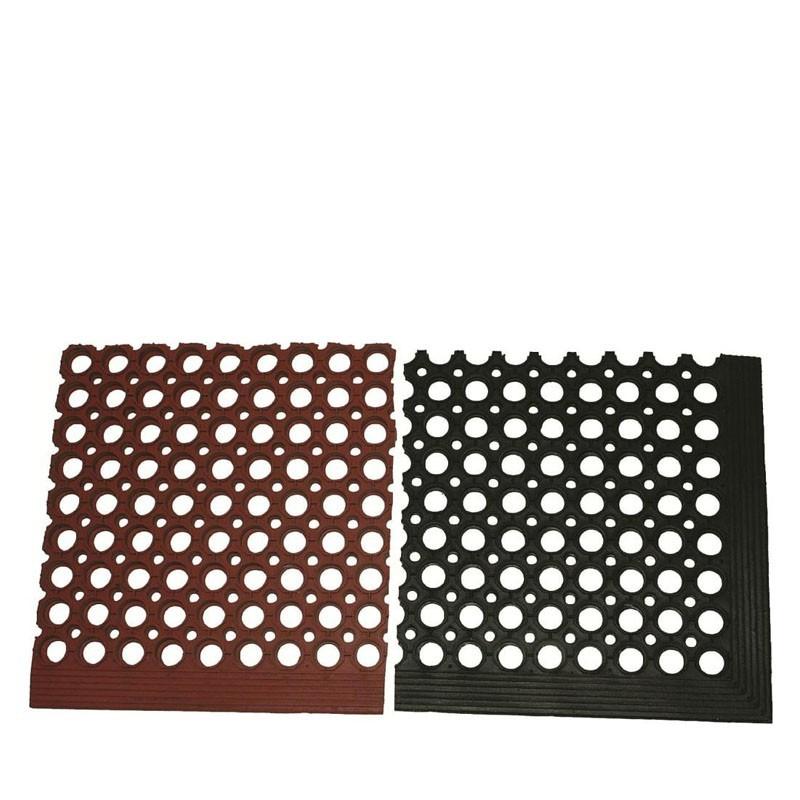 Floor Mat - Black & Red Rubber, 152 .5 * 92 .5cm