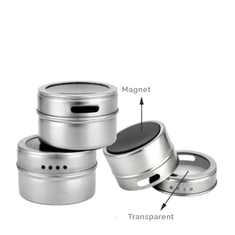 Metal Box for Spices, with Magnetic Support