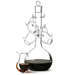 DeLuxe Porto Wine Set - DECANTER with 4 Glasses/ Pipes