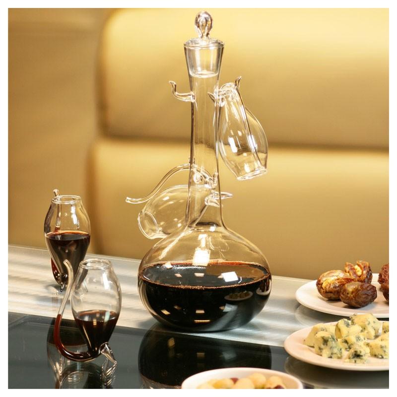 DeLuxe Porto Wine Set - DECANTER with 4 Glasses