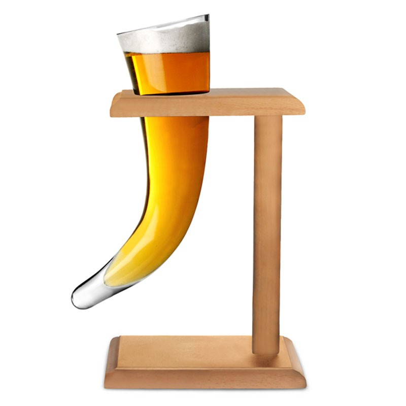 Beer Mug - VIKING HORN, 480ml - with Wooden Stand