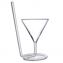 The SIPTINI Martini glass (Y) - with Glass Straw, 220ml