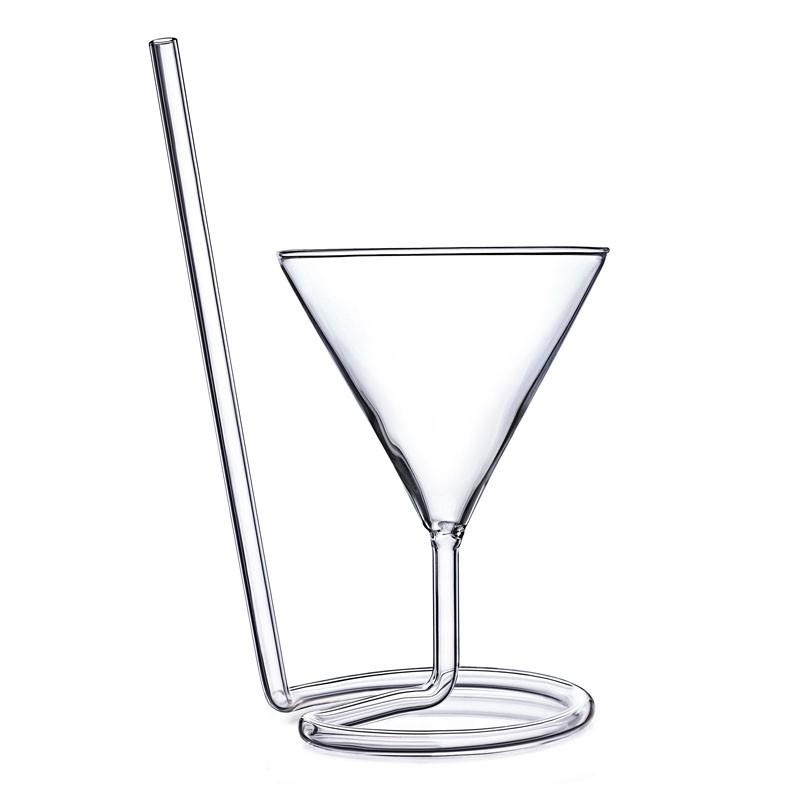 Pahar cocktail THE SIPTINI Martini (Y), 220ml cu paie de sticla