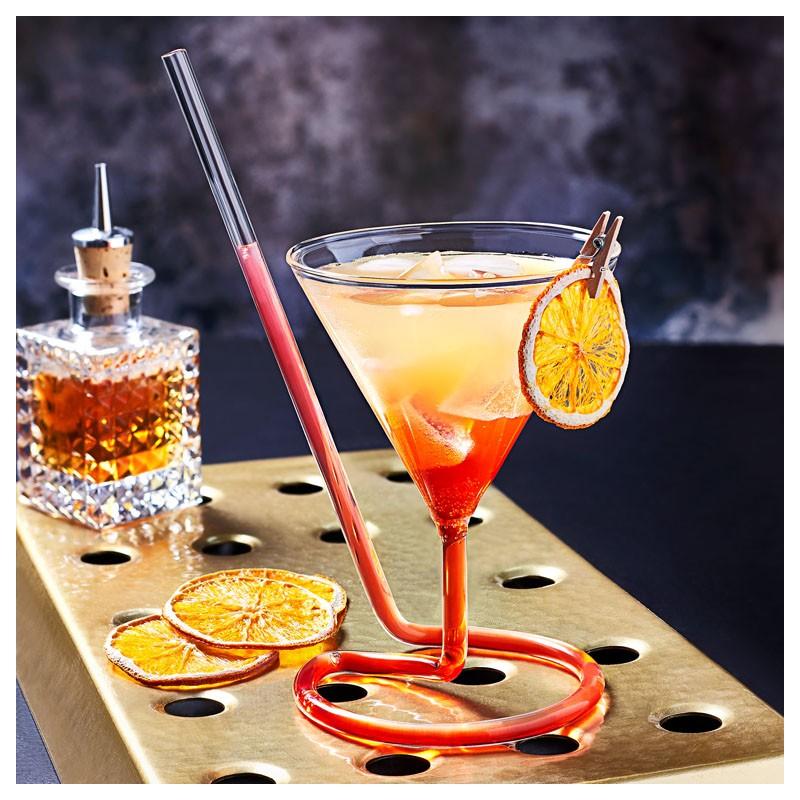 Pahar cocktail THE SIPTINI Martini (Y), 220ml cu paie de sticla si garnish
