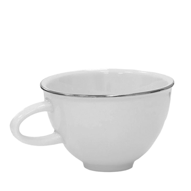 COFFEE Cup - White Porcelain, with PLATINUM Edge, 150ml