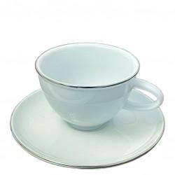 Ceasca CAFEA - Portelan ALB, cu Margine PLATINATA, 150ml