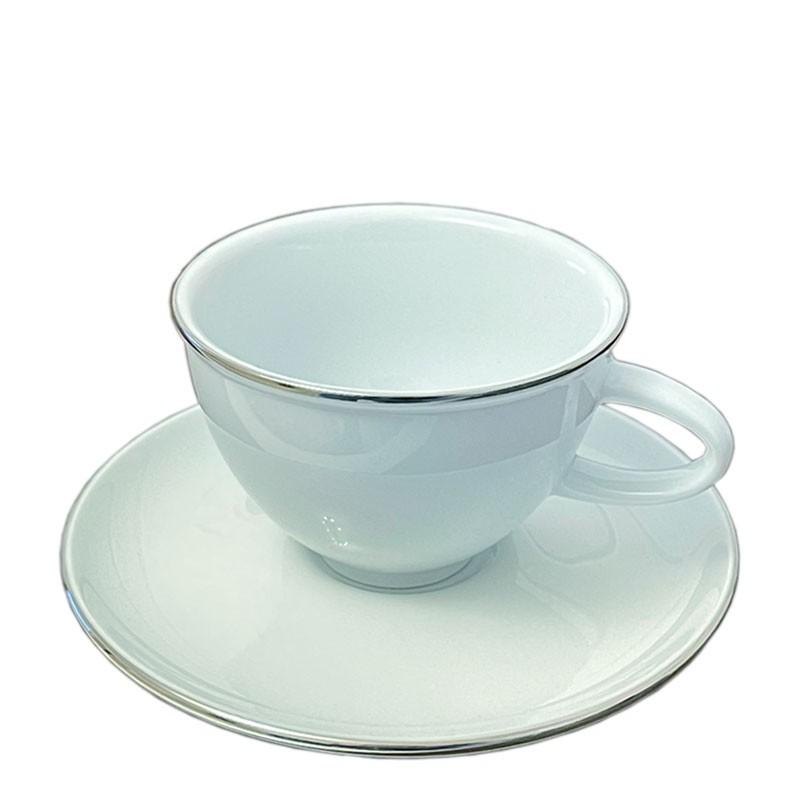 Ceasca + Farfurie CAFEA - Portelan ALB, cu Margine Platinata, 150ml