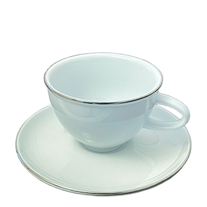 COFFEE Cup + Saucer - White Porcelain, with PLATINUM Edge